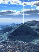De foto is een animatie van de werking van de Zonpiramide in Visoko